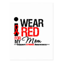 Stroke Awareness I Wear Red Ribbon For My Mom Postcard