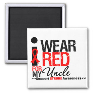 Stroke Awareness I Wear Red Ribbon For My Uncle Fridge Magnet