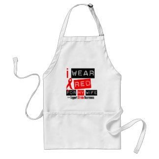 Stroke Awareness I Wear Red Ribbon For My Wife Adult Apron