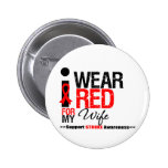 Stroke Awareness I Wear Red Ribbon For My Wife Button