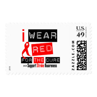 Stroke Awareness I Wear Red Ribbon For The Cure Stamp