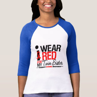 Stroke Awareness I Wear Red Ribbon For Twin Sister T-Shirt