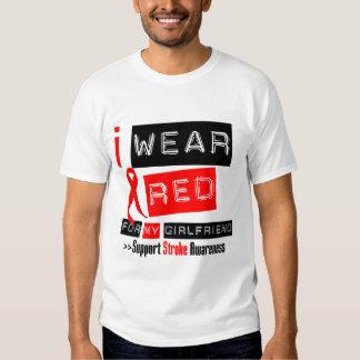 Stroke Awareness I Wear Red Ribbon Girlfriend T-Shirt