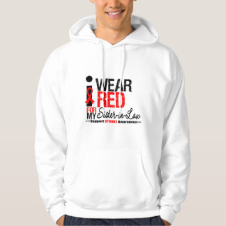 Stroke Awareness I Wear Red Ribbon Sister-in-Law Hooded Pullover
