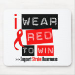 Stroke Awareness I Wear Red Ribbon To Win Mouse Mat