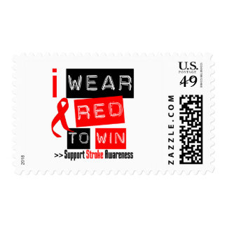 Stroke Awareness I Wear Red Ribbon To Win Stamp