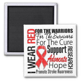 Stroke Awareness I Wear Red Ribbon TRIBUTE Refrigerator Magnets