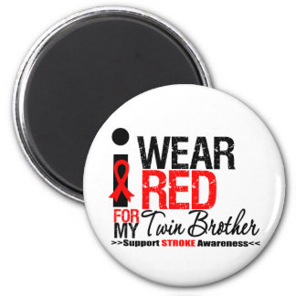 Stroke Awareness I Wear Red Ribbon Twin Brother Refrigerator Magnets