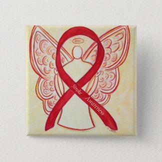 Stroke Awareness Red Ribbon Angel Custom Art Pin