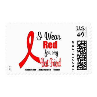Stroke Awareness - Red Ribbon (Best Friend) Postage Stamps