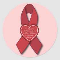 Stroke Awareness Red Ribbon Classic Round Sticker