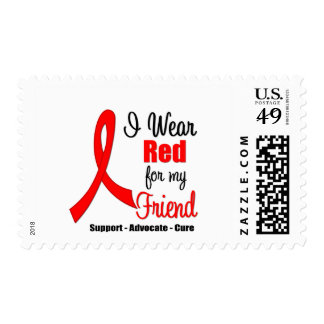 Stroke Awareness - Red Ribbon (Friend) Postage Stamps