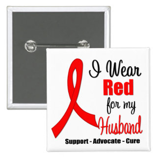Stroke Awareness - Red Ribbon (Husband) Buttons