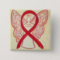 Stroke Awareness Ribbon Red Angel Personalized Pin