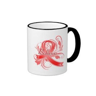Stroke Believe Flourish Ribbon Coffee Mugs