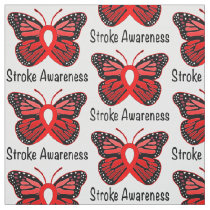 Stroke Butterfly Awareness Ribbon Fabric