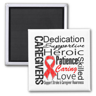 Stroke Caregivers Collage 2 Inch Square Magnet