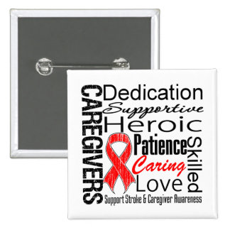 Stroke Caregivers Collage Pinback Button