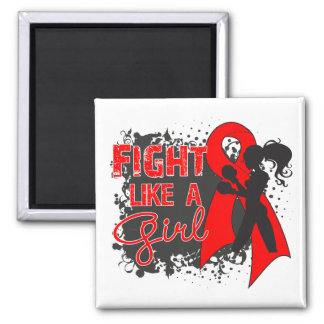 Stroke Disease Fight Like A Girl Grunge 2 Inch Square Magnet