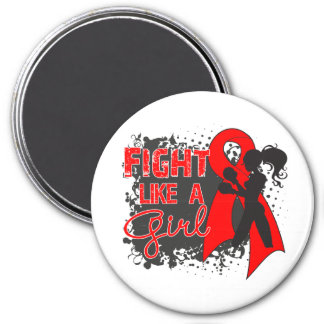 Stroke Disease Fight Like A Girl Grunge 3 Inch Round Magnet