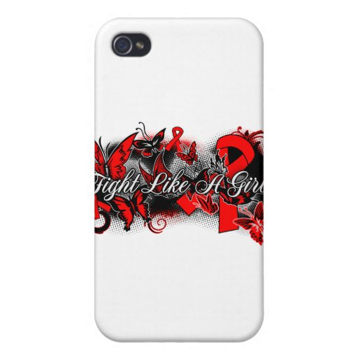 Stroke Disease Fight Like A Girl Grunge Butterfly iPhone 4 Cover