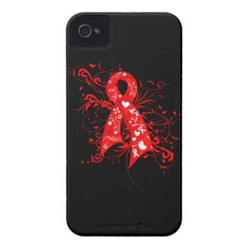 Stroke Floral Swirls Ribbon iPhone 4 Case-Mate Case