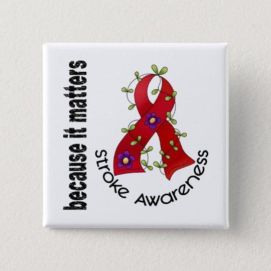 Stroke Flower Ribbon 3 Pinback Button