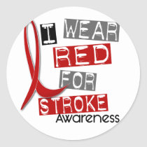 Stroke I WEAR RED FOR AWARENESS 37 Classic Round Sticker