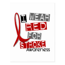 Stroke I WEAR RED FOR AWARENESS 37 Postcard