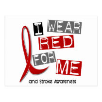 Stroke I WEAR RED FOR ME 37 Postcard