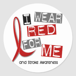 Stroke I WEAR RED FOR ME 37 Classic Round Sticker