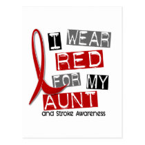Stroke I WEAR RED FOR MY AUNT 45 Postcard
