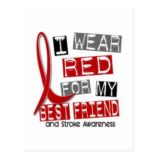 Stroke I WEAR RED FOR MY BEST FRIEND 45 Postcard