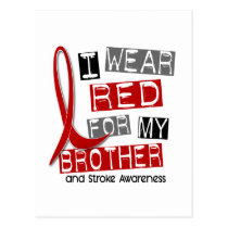 Stroke I WEAR RED FOR MY BROTHER 37 Postcard