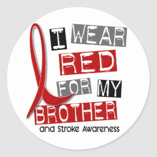 Stroke I WEAR RED FOR MY BROTHER 37 Classic Round Sticker
