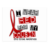 Stroke I WEAR RED FOR MY COUSIN 45 Postcard