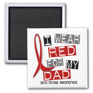 Stroke I WEAR RED FOR MY DAD 37 2 Inch Square Magnet
