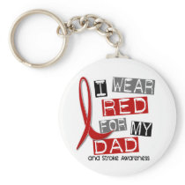 Stroke I WEAR RED FOR MY DAD 37 Keychain