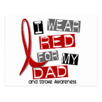 Stroke I WEAR RED FOR MY DAD 37 Postcard