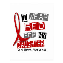 Stroke I WEAR RED FOR MY DAUGHTER 37 Postcard