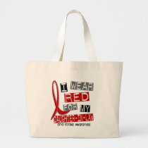 Stroke I WEAR RED FOR MY DAUGHTER-IN-LAW 37 Large Tote Bag