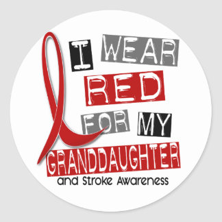 Stroke I WEAR RED FOR MY GRANDDAUGHTER 37 Classic Round Sticker