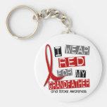 Stroke I WEAR RED FOR MY GRANDFATHER 37 Keychain