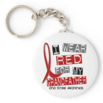 Stroke I WEAR RED FOR MY GRANDFATHER 37 Keychain