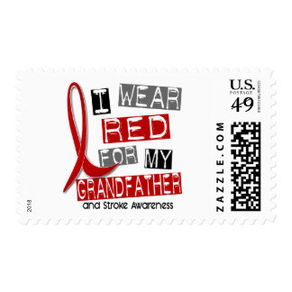 Stroke I WEAR RED FOR MY GRANDFATHER 37 Postage Stamp