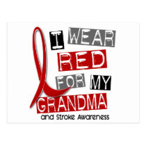 Stroke I WEAR RED FOR MY GRANDMA 37 Postcard