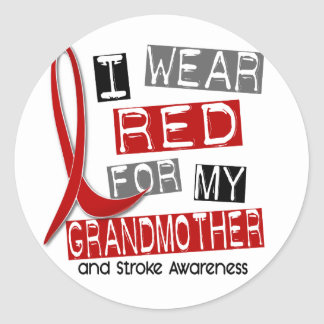 Stroke I WEAR RED FOR MY GRANDMOTHER 37 Classic Round Sticker