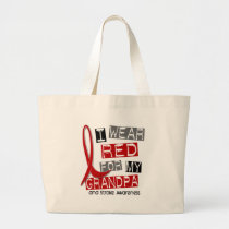 Stroke I WEAR RED FOR MY GRANDPA 37 Large Tote Bag