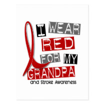 Stroke I WEAR RED FOR MY GRANDPA 37 Postcard