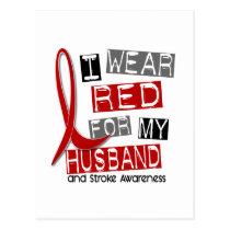 Stroke I WEAR RED FOR MY HUSBAND 37 Postcard